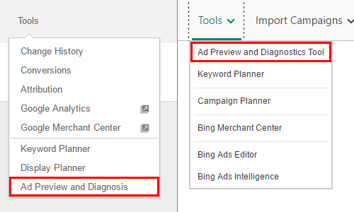 Bing Ads and Google AdWords Ad Preview Tools