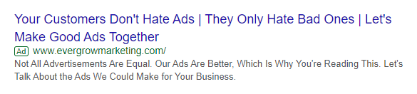 Challenging a Belief Text Ad Example