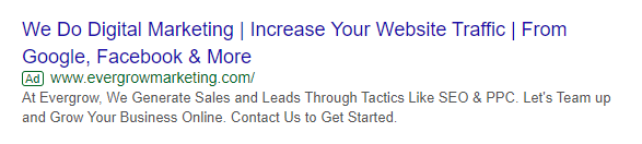 Direct Text Ad Example