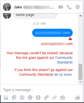 Your Message Couldn't Be Shared Because This Link Goes Against Our Community Standards