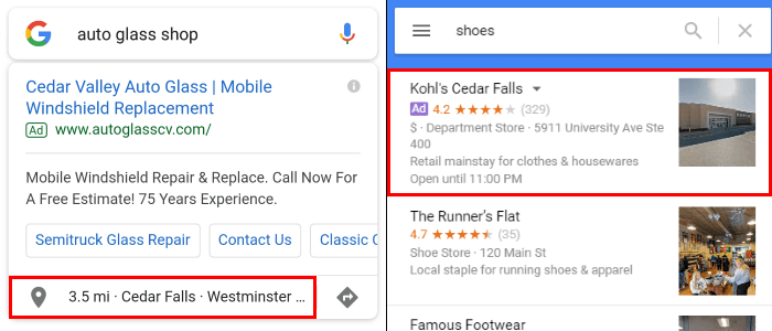 Example of Get Location Details Click Type on Desktop and Mobile
