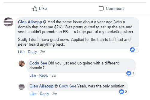 Glen Allsopp Facebook Blacklisted Domain Comment