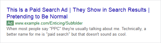 Example of a Paid Search Ad on Google