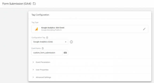 Tag Configuration for Form Submission Custom Event in Google Analytics 4