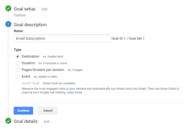 Example of Destination URL Goal in Old Version of Google Analytics