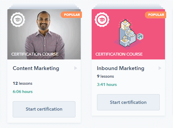 HubSpot Academy Certification Courses for SEO