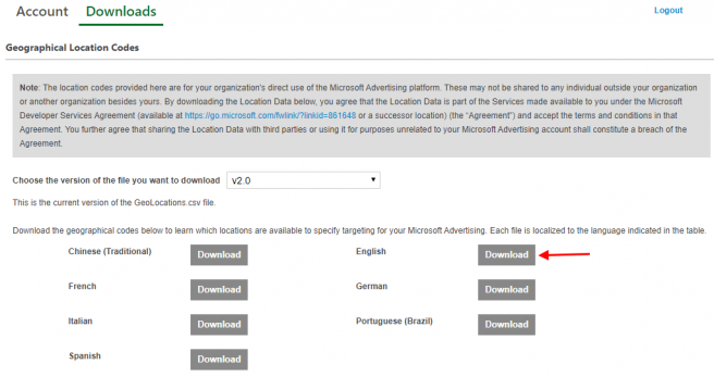 Microsoft Ads Geographical Location Codes