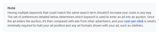 Having Multiple Keywords That Could Match the Same Search Term Shouldn't Increase Your Costs in Any Way