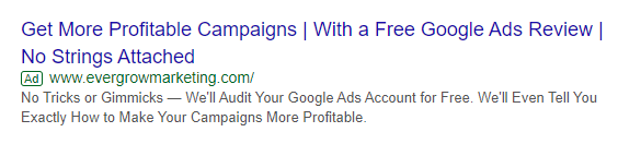 Example of a Text Ad Using an Offer