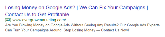 Example of a Pain Point Used in a Text Ad