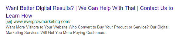 Example of a Question in a Text Ad