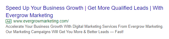 Growth Hack Text Ad Example