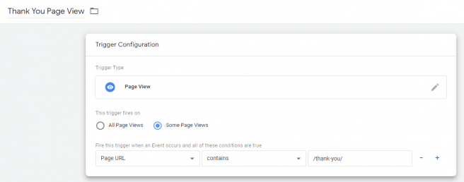 Thank You Page View Trigger Setup in Google Tag Manager