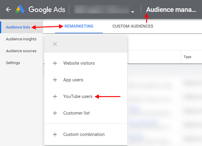 Where to Create Remarketing Lists for YouTube Ad Viewers